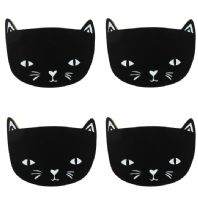 Lovely set of 4 black cat shaped wooden coasters...
